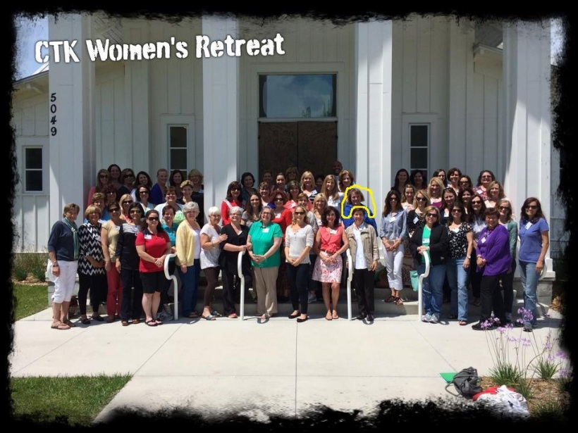 HERE WE ARE MY PARISH LADIES I WENT ON RETREAT WITH. I'm in the second row in a blue polka dot scarf near the pole on middle right as you see this