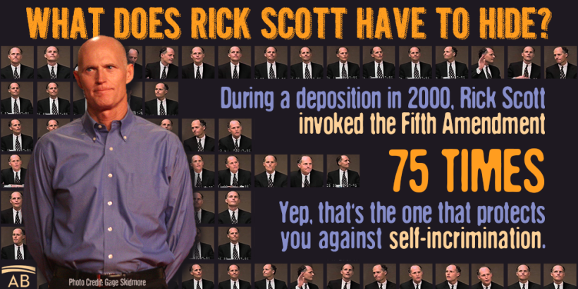 FLA GOV RICK SCOTT INVOKED THE FIFTH AMENDMENT 75 TIMES IN THE YEAR 2000 WHEN QUESTIONED ABOUT FRAUD. What is he trying to hide?
